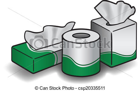 Vector Clip Art of TISSUE BOXES AND ROLL.