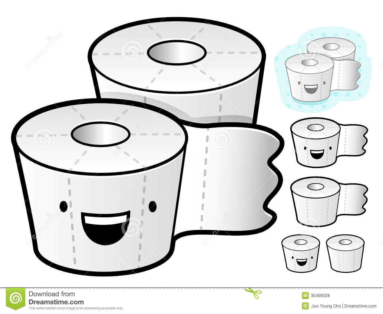 Different Styles Of Tissue Paper Sets. Household Items Vector Ic.