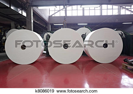Stock Photograph of toilet paper tissue manufacturing industry.