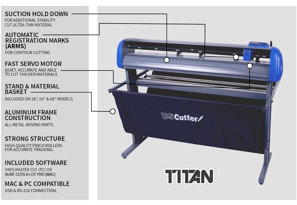 TITAN 3 ARMS Contour Cutting Vinyl Cutter.