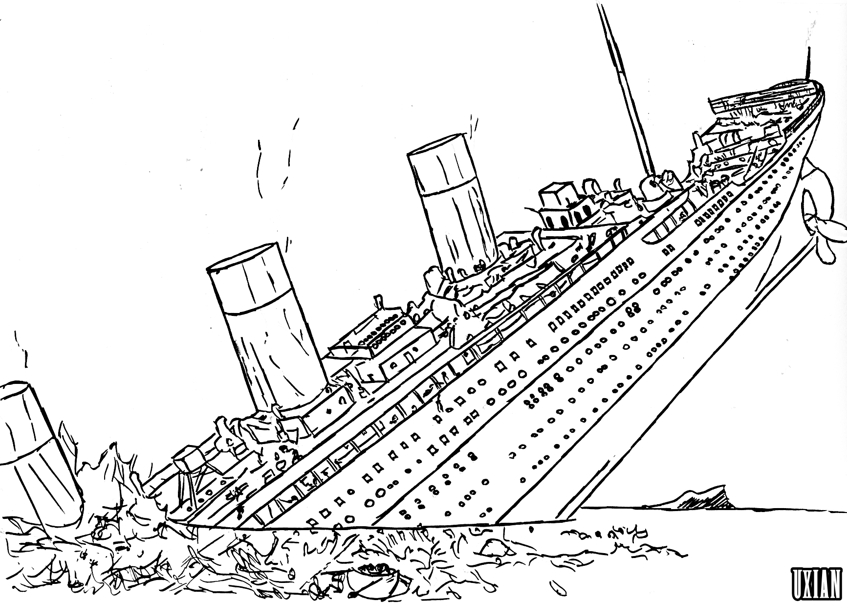 Titanic sinking by UxianXIII on DeviantArt for Titanic Coloring.