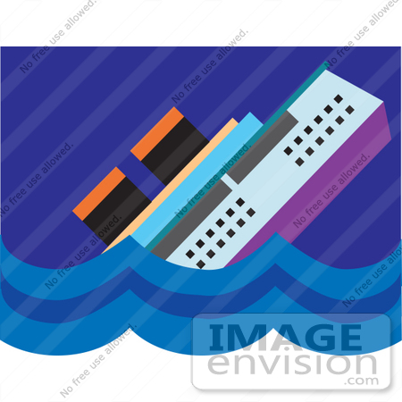 Clip Art Graphic of a Cruise Ship Resembling Titanic Sinking in.