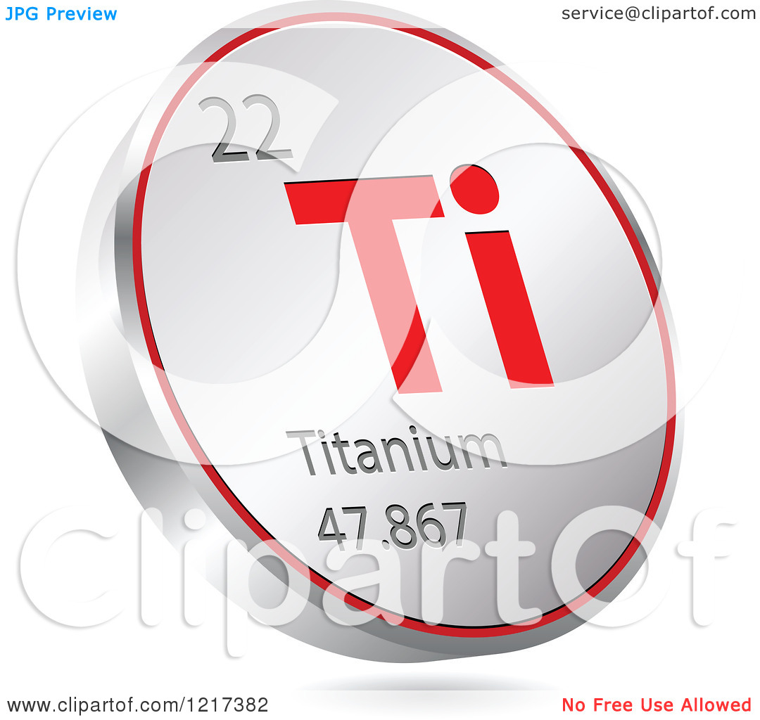 Clipart of a 3d Floating Round Red and Silver Titanium Chemical.