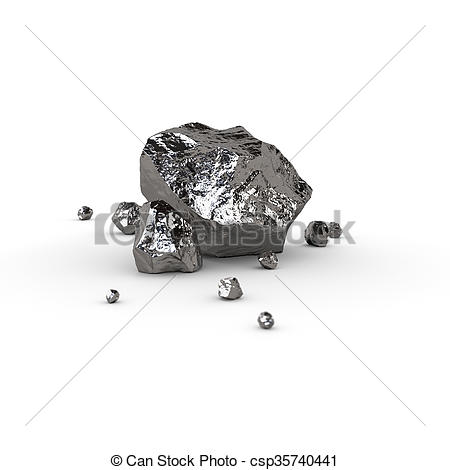 Drawing of Titanium, mineral raw materials isolated illustration.