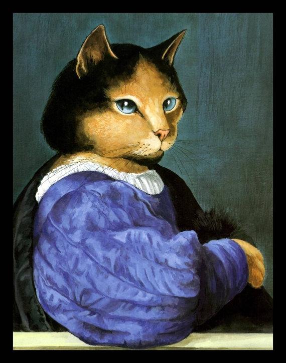 Cat Art Prit Titian Spoof by Susan Herbert 1994 Original.