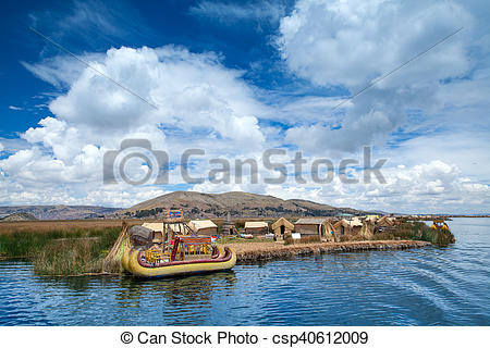 Stock Photography of Totora boat on the Titicaca lake near Puno.