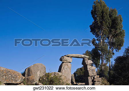 Stock Photo of Old ruins on a landscape, Lake Titicaca, Taquile.
