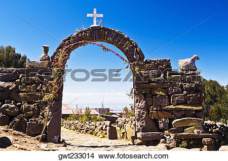 Stock Photo of Arch entrance of an island, Lake Titicaca, Taquile.