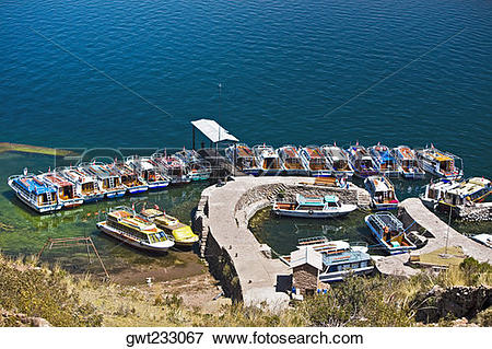 Picture of High angle view of boats moored at a dock, Lake.