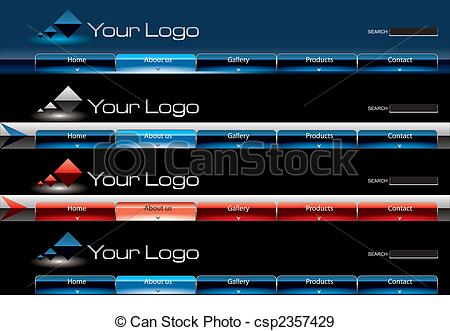 Stock Illustration of Website glossy Vista button bars template.