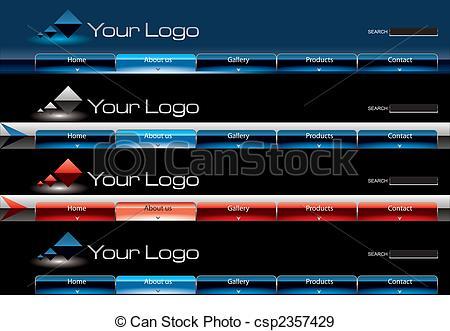 Stock Illustration of Website glossy Vista button bars template.