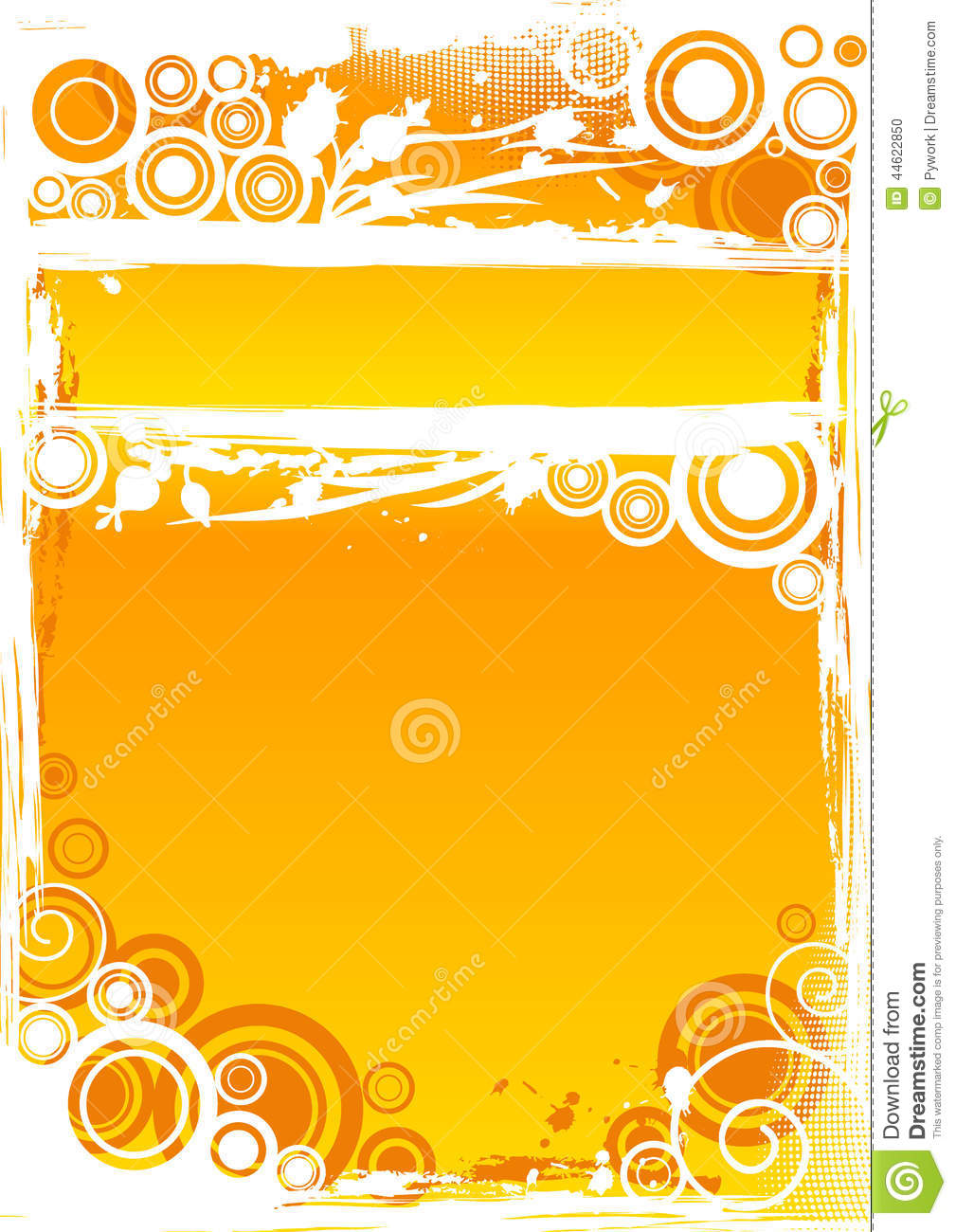Vector Grunge Circle Background In Orange With Highlighted Title.