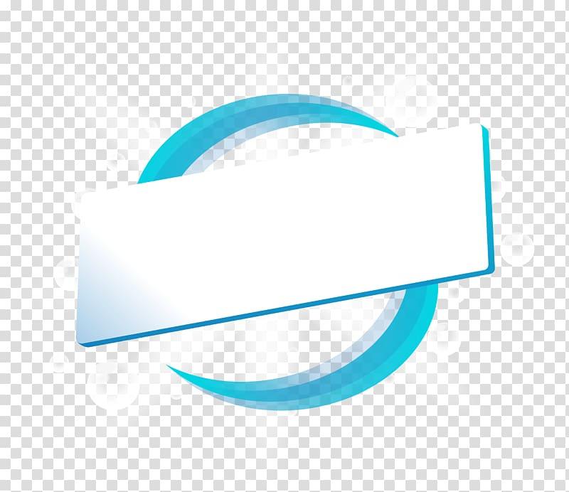 Brand Logo Blue Font, Blue line ring title box, rectangular.