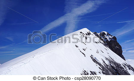 Picture of Titlis snow mountains peak horizontal, Switzerland.
