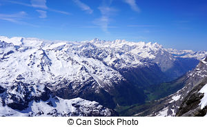 Stock Photo of ski snow mountains field Titlis, Engelberg.