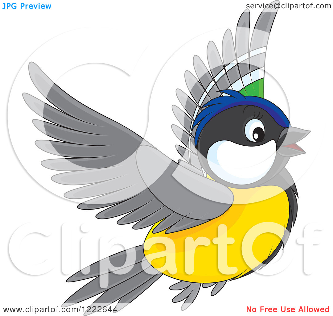 Clipart of a Cute Flying Titmouse Bird.