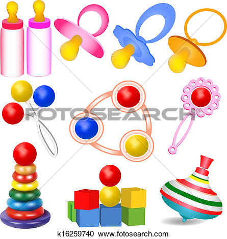 Clipart of of a set of children with Tits toys Yul and rattles.