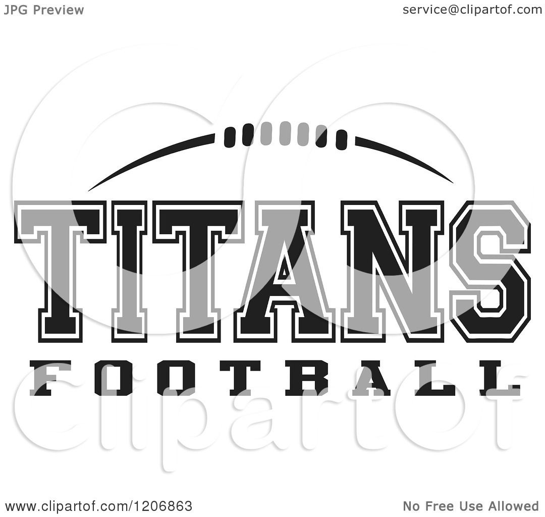 Clipart of a Black and White American Football and TITANS Football.