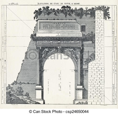 Drawing of Elevation the arch of Titus, in Rome.