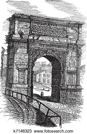 Clipart of Arch of Titus on Via Sacra Rome Italy vintage engraving.