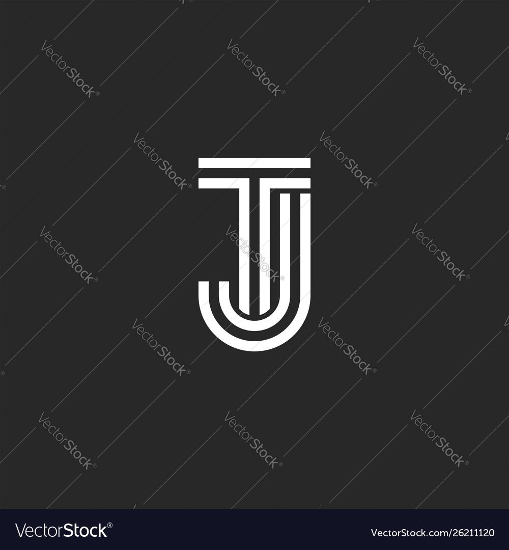 Combination two letters tj logo monogram mark.