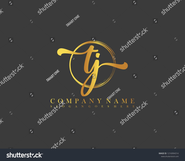 TJ initial handwriting logo circle template vector.