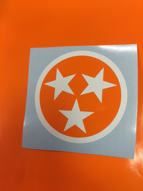 3 star Tennessee flag vinyl decal bumper sticker (2) by.