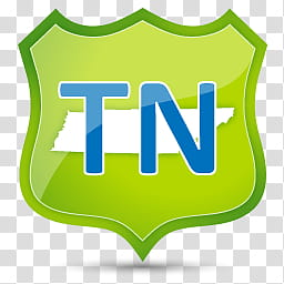US State Icons, TENNESSEE, green and blue TN logo.