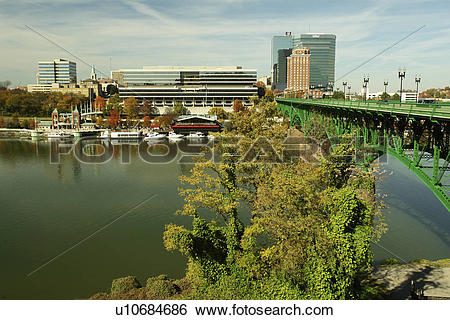 Stock Images of Knoxville, TN, Tennessee, Downtown Skyline.