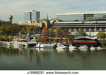 Stock Photography of Knoxville, TN, Tennessee, Downtown Skyline.