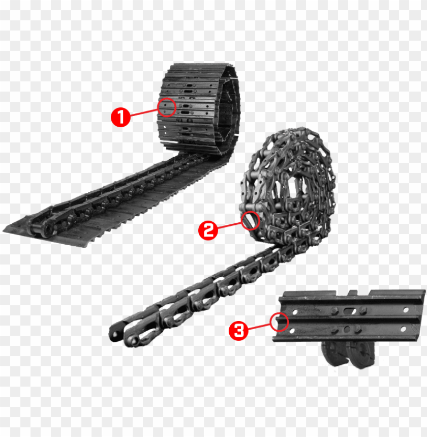 tnt track assembly, track chain, and track shoes.