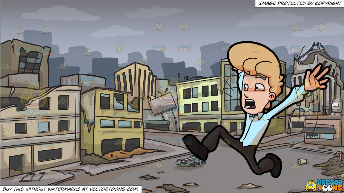 A Man Running Away From Something That Scared Him and A Ghost City After A  Disaster Background.