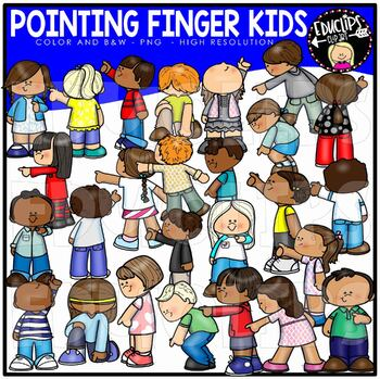 Pointing Finger Kids Clip Art {Educlips Clipart}.