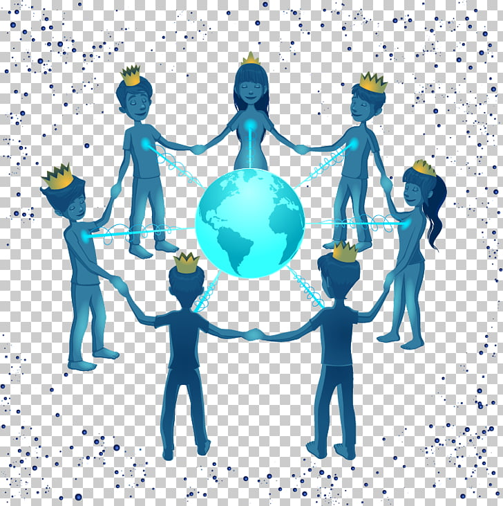 Earth Icon, Hand in hand to build a global village. PNG.