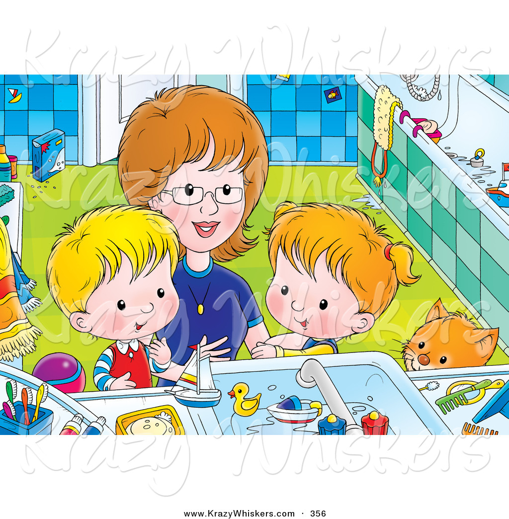 Critter Clipart of a Happy Mother Bending down to Help a Boy and.