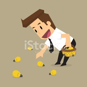 businessman collect bulbs, Clipart Image.