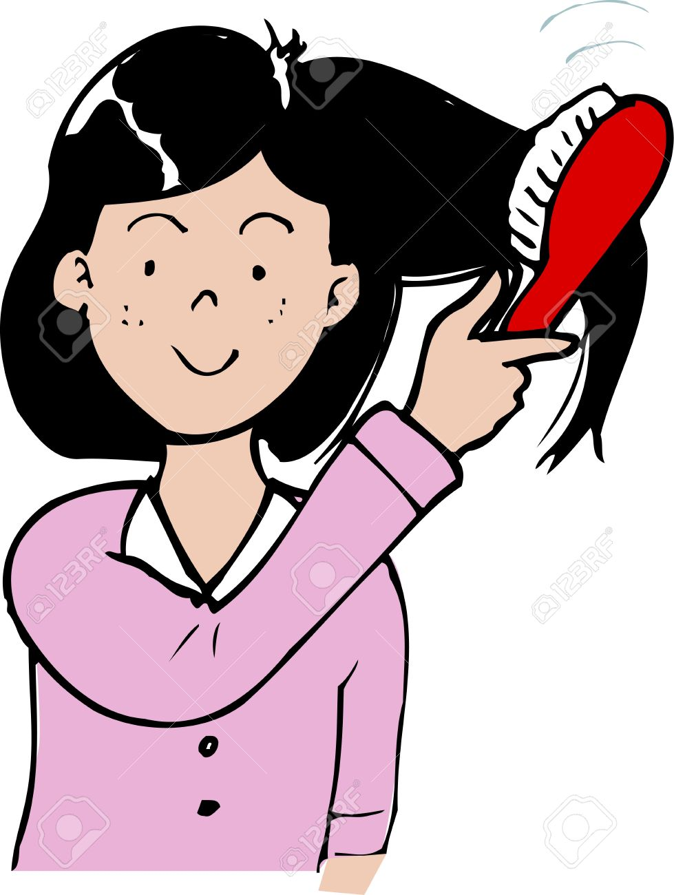 I Comb My Hair Clipart.