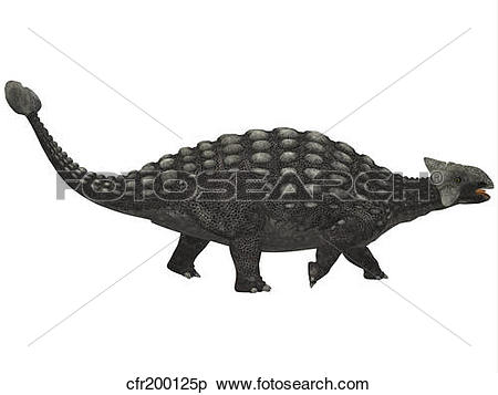 Stock Illustration of Ankylosaurus, an armored dinosaur from the.
