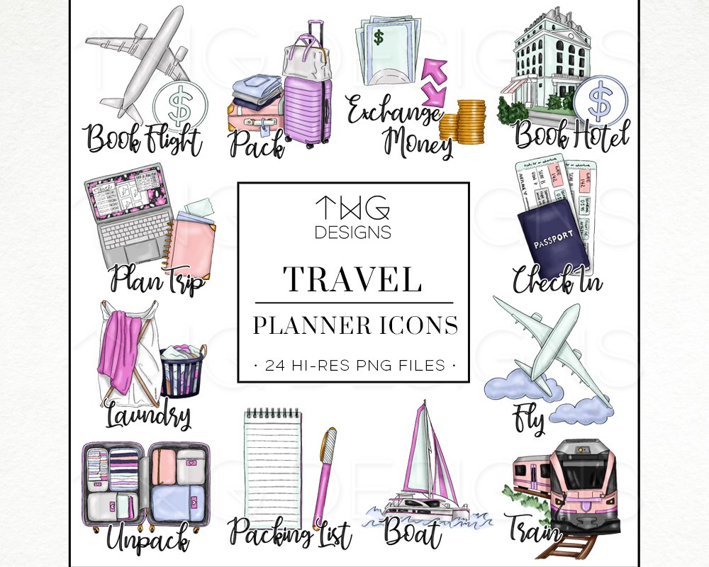 To Do Planner Icons Travel.