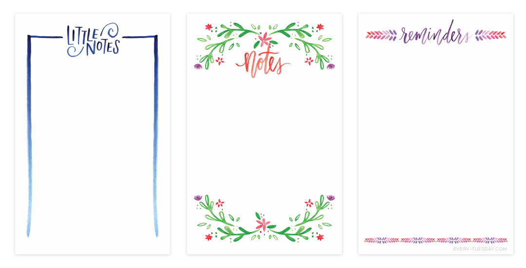 Freebie: 3 Watercolor Notecard Printables.