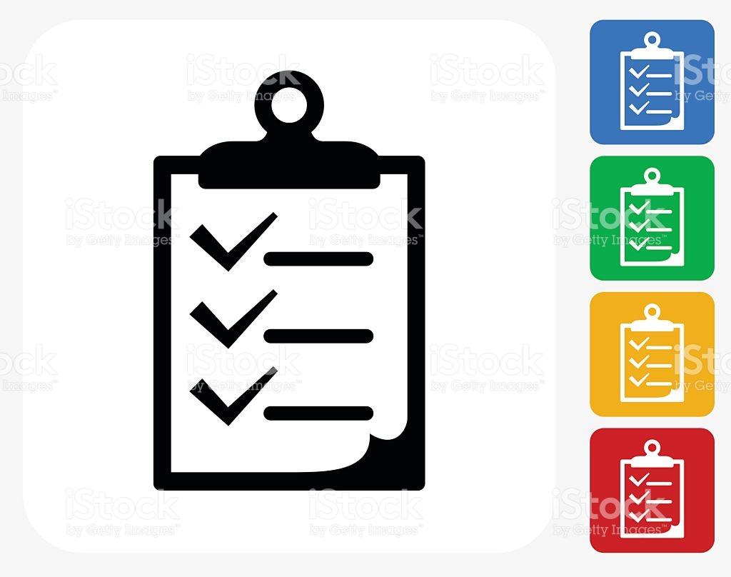 Checklist On Clip Board Icon Flat Graphic Design stock vector art.