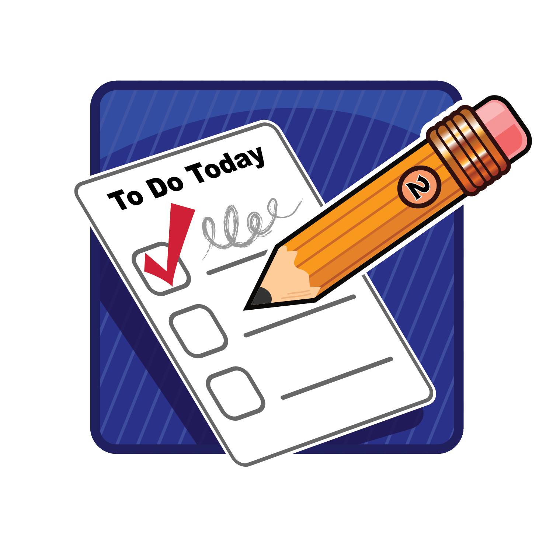 Task list clipart for school.