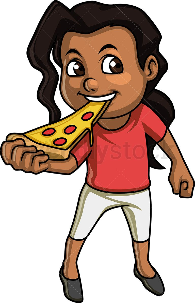 Black Little Girl Eating Pizza.