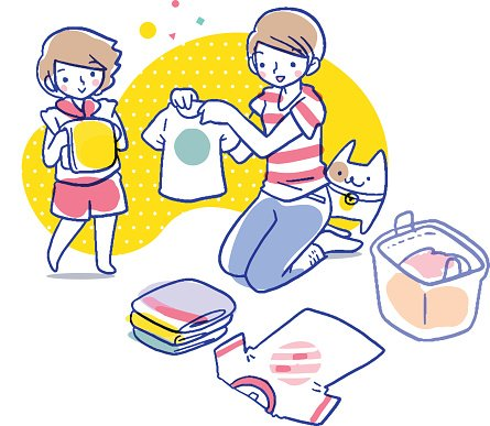 Cartoon illustration of mother showing daughter how to fold.