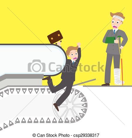 Vector Clip Art of Man caught his leg into the escalator, stairway.