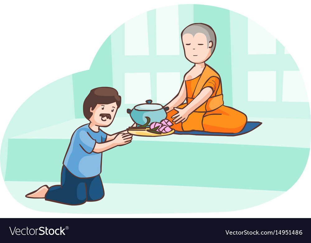 A man offer food to monk.