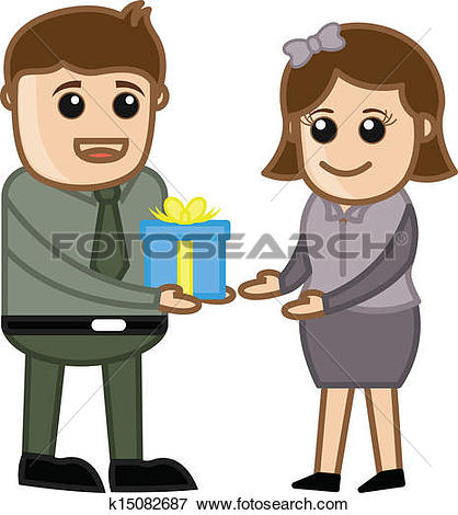 Clipart of Man Holding Business Present k15079373.