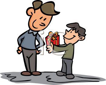 A Boy Giving Present Clipart.