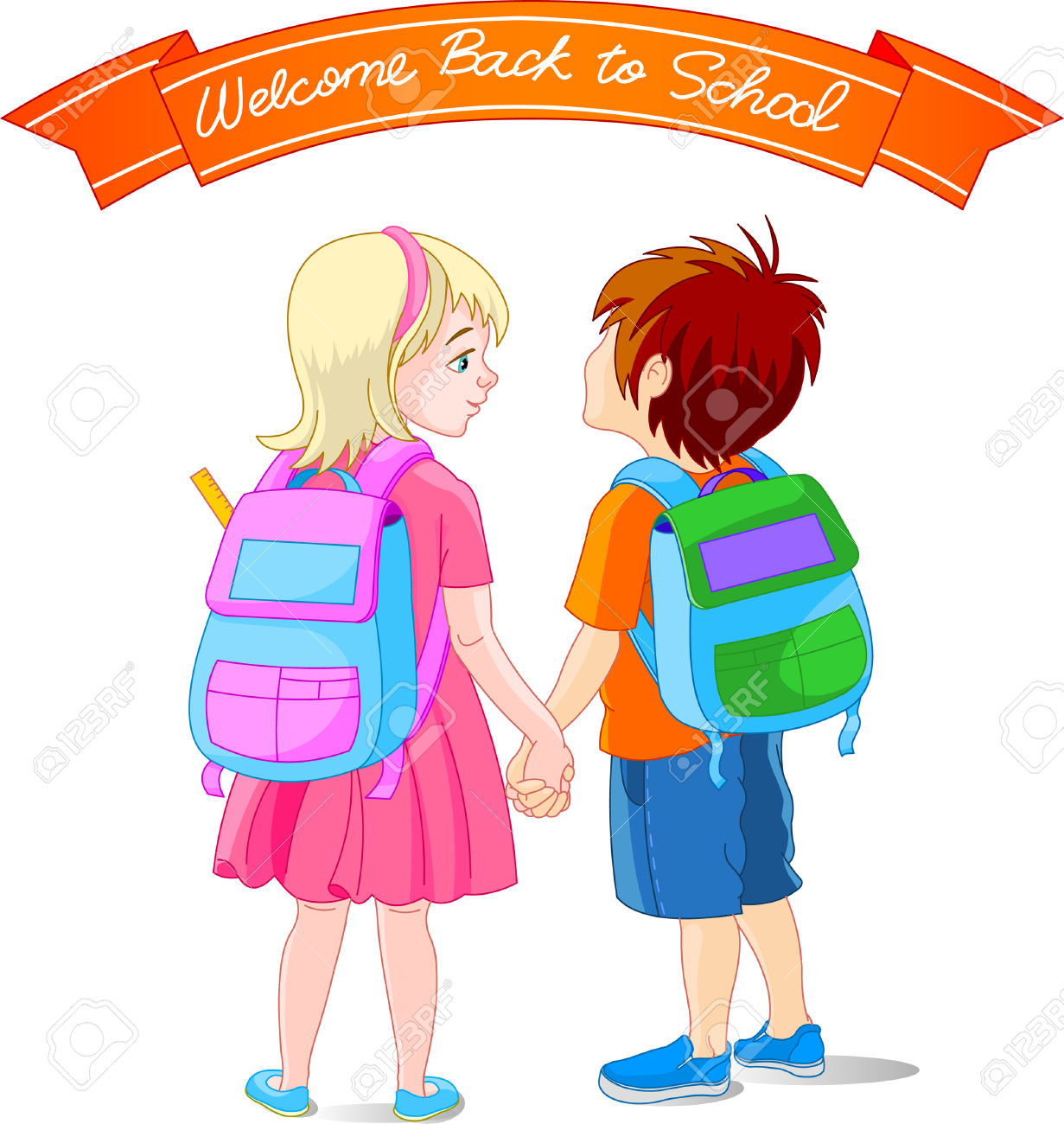 Vector Illustration Of Girl And Boy Go To School Royalty Free.
