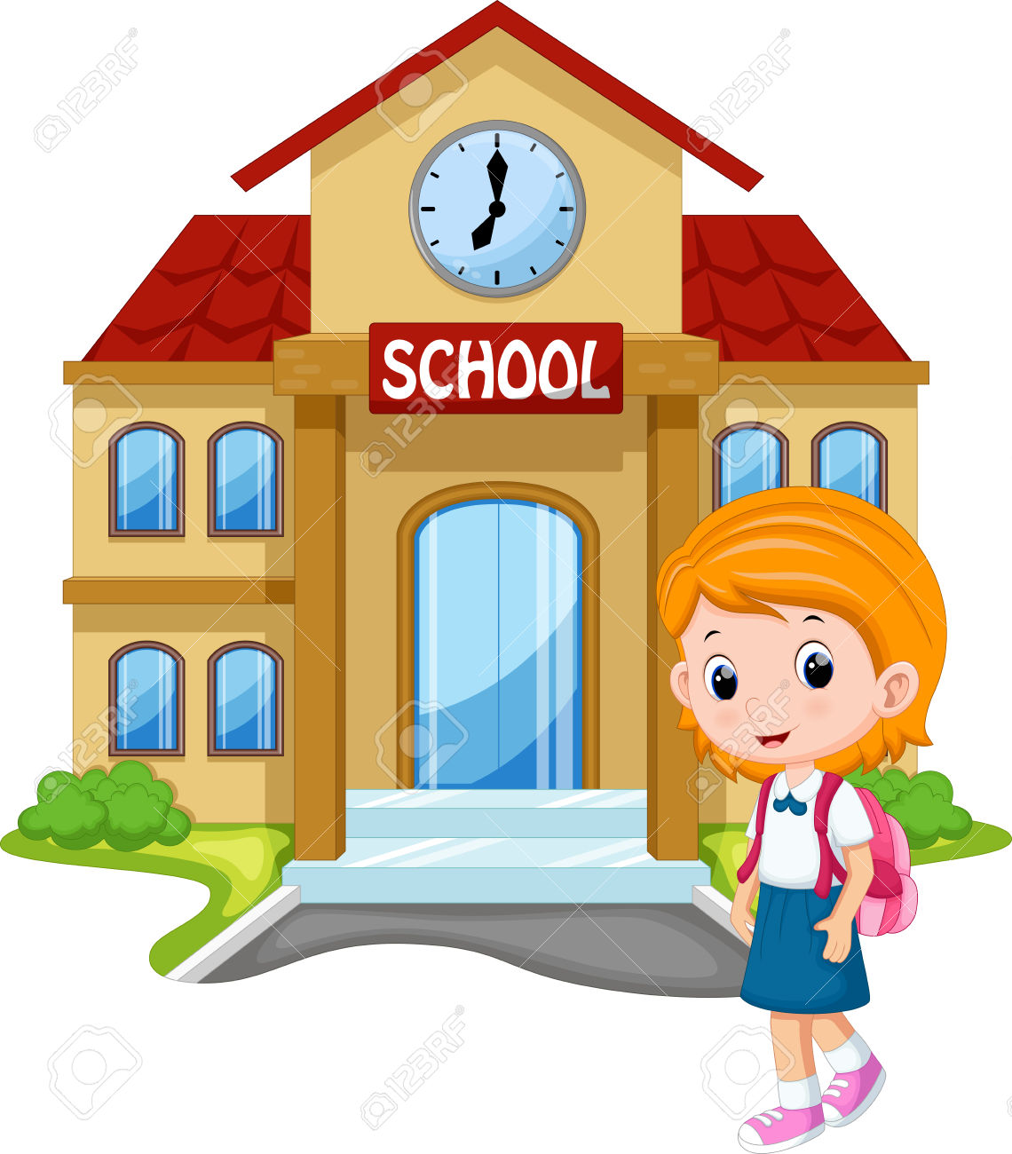 Little Girl Going To School Royalty Free Cliparts, Vectors, And.